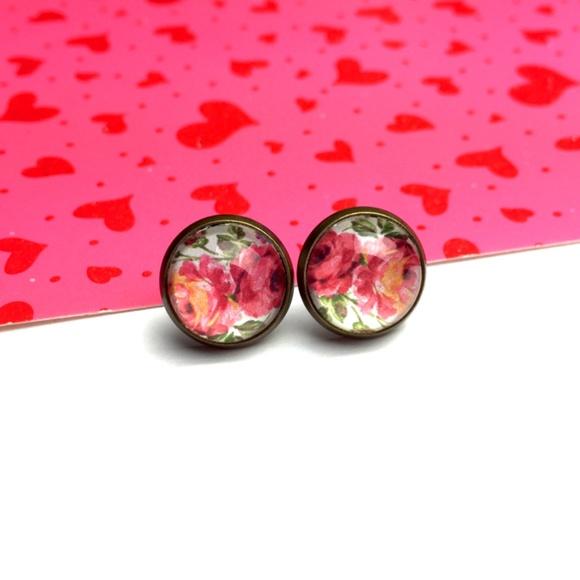 Country Mermaids Jewelry - Vintage Rose Earrings - Floral